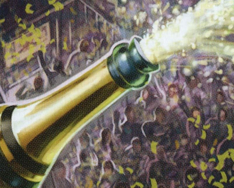Election Day illustration: a bottle of champagne popping