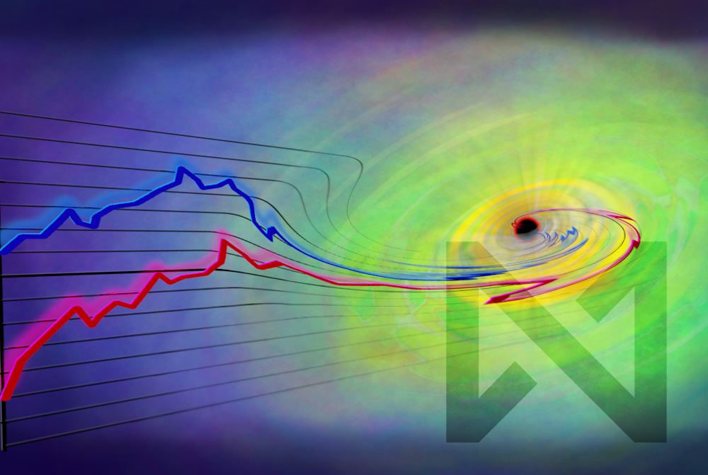 Artwork by Philippe Laroche depicting a graph with trend lines being sucked into a vortex
