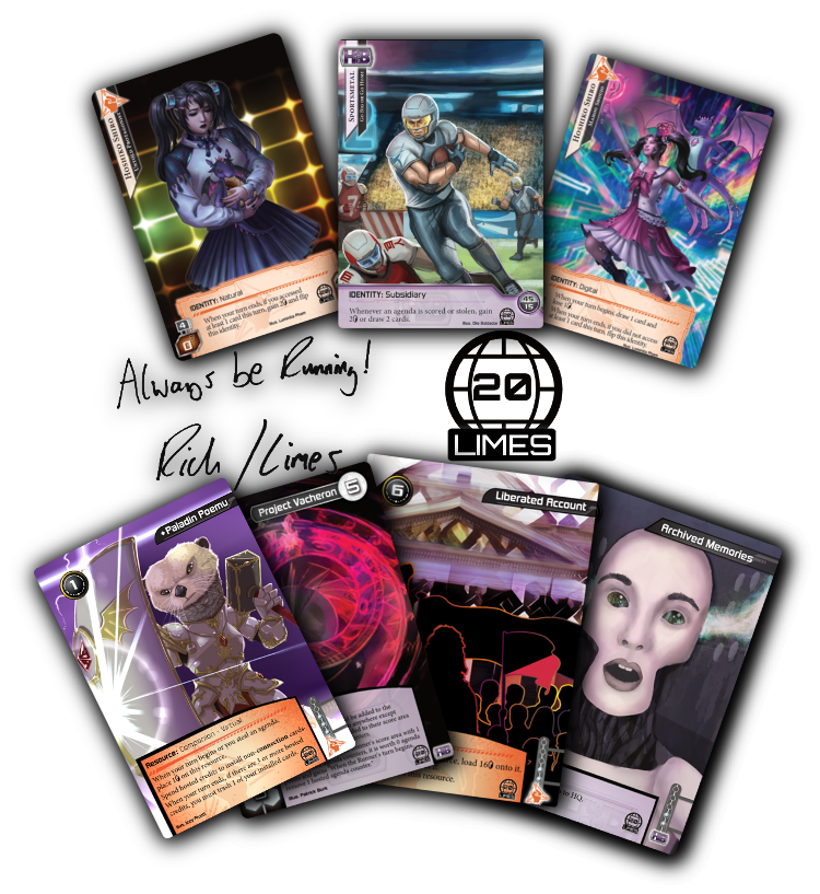 """The six cards contained in the pack: Hoshiko Shiro, Sportsmetal, Paladin Poemu, Project Vacheron, Liberated Account, and Archived Memories, along with the set symbol and a signature that reads, """"Always be Running! -Rich/Limes""""."""