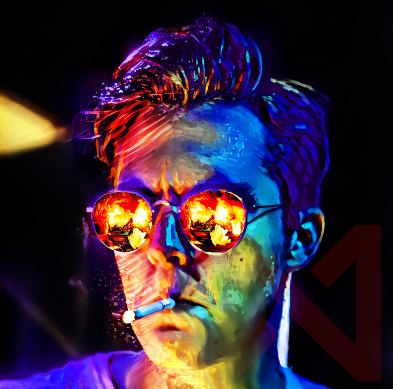 Punitive Counterstrike: An operative bathed in neon red, deep blue, and sickly green light smokes a cigarette. Burning wreckage is reflected in their sunglasses.