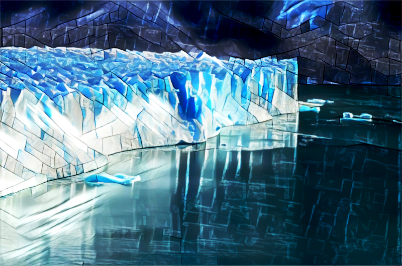 A photo of a glacier modified to look as though it were made of stained glass.