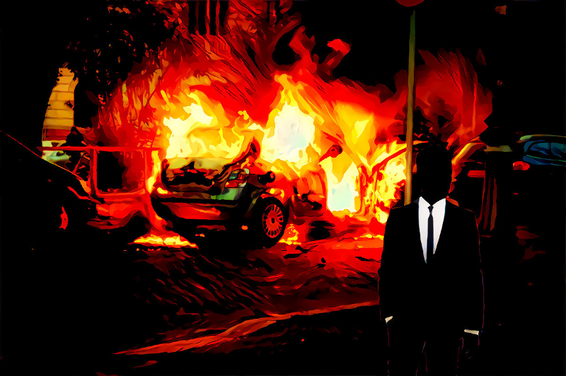 Photo illustration: A silhouetted figure in a suit and tie walking away from burning wreckage