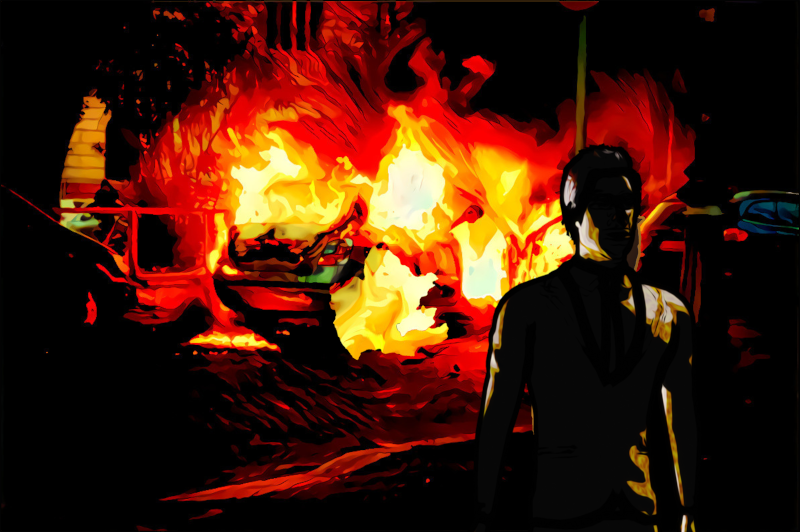 Photo illustration: A silhouetted figure walking away from burning wreckage