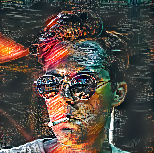 Digitally altered portrait of a model wearing sunglasses. The image is grainy and features strong red coloring.