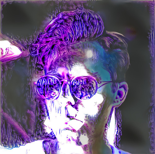 Digitally altered portrait of a model wearing sunglasses. The image features intense purple color and strong white highlights.