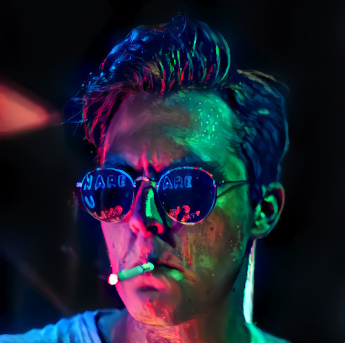 Digitally altered portrait of a model wearing sunglasses. The image features deep shadows and strong pink and green glow.