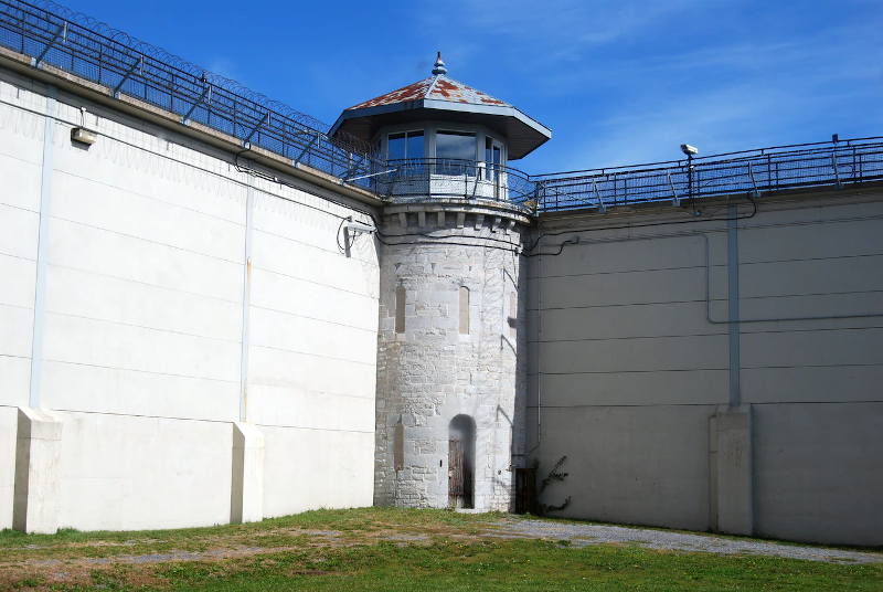 Prison yard with guard tower