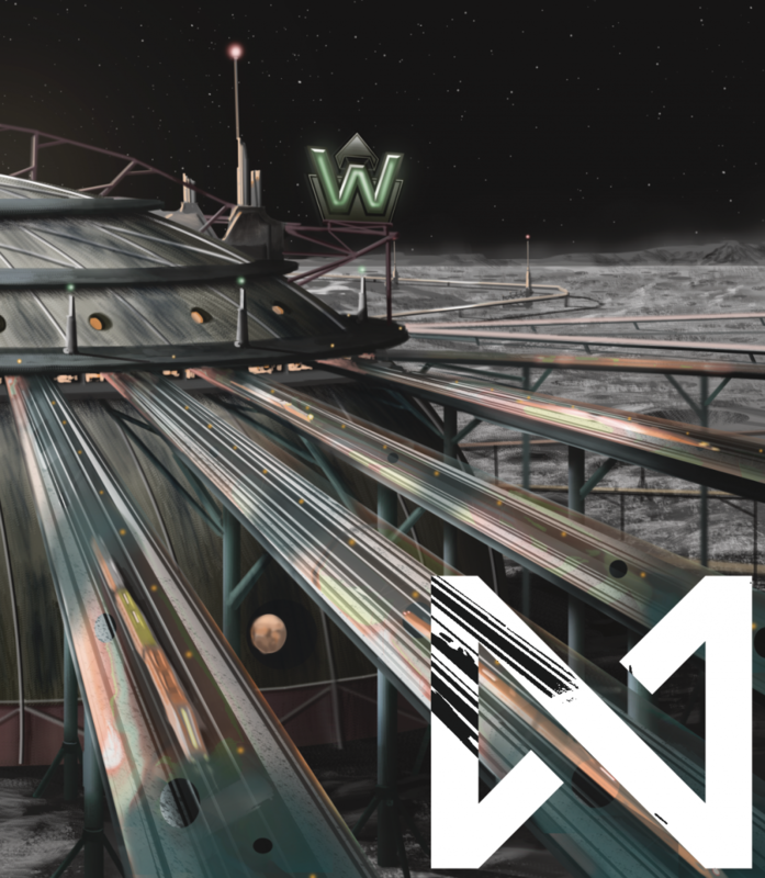 Several maglev lines emerge from a sturdy-looking dome on the Moon's surface. The Weyland Consortium logo floats above.