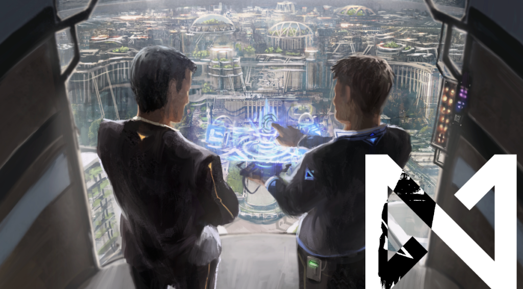 Offworld Office illustration: Two people overlook the Lunar cityscape, looking at a holographic sculpt between them.